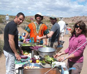 Great Outdoors: Participants of Passover in the Desert make lunch at the Ibex Wilderness in California.