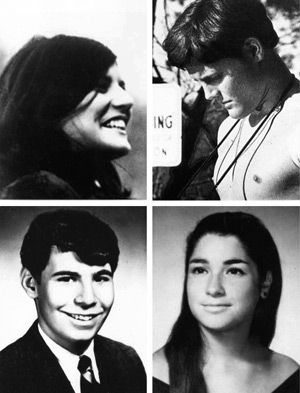 ?The Day the War Came Home?: Clockwise from top left, Allison Krause, William Schroeder, Sandra Scheuer and Jeffrey Miller were killed when Ohio National Guardsmen opened fire on a group of unarmed students and bystanders during campus anti-war protests on May 4, 1970. The shootings came after some students hurled rocks at the soldiers.